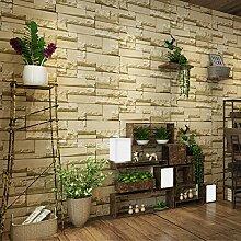Retro Brick Tapete Wohnzimmer Schlafzimmer Gäste Brick Tapete Grau Gelb,Yellow