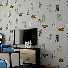 Retro Chinesischen Wind Vlies - Tapete Wandbilder Schlafzimmertapete Kalligraphie,Redcoffeecolor