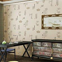 Retro Chinesischen Wind Vlies - Tapete Wandbilder Schlafzimmertapete Kalligraphie,Lightbeige