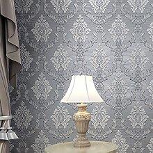 reyqing Vliestapete _ 3D Relief Wildleder Tapete Damaskus Vliestapete Hintergrund grau