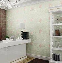 Romantische Pastorale Tapete Warme Schlafzimmer Vliestapete 4D Tapete,Lightgreen