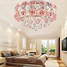 Rosa Blume Deckenleuchte romantischen Garten LED Kronleuchter Töchter Zimmer Schlafzimmer Deckenleuchte 600 mm