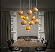 SDKKY-Garten Holz solide Holzkugel Kronleuchter, kreative Persönlichkeiten Wohnzimmer Esszimmer Kleidung Shop minimalistischen Hallenbeleuchtung , 1
