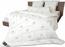 Sei Design® Mikrofaser LUXUS Bettdecke in Premium Qualität mit daunenähnlicher Füllstruktur, Winterwarm 155x220 cm. Sehr leichte Decke mit hoher Wärmehaltung. Der Stoff mit einem Schwanen-Motiv und eine eingearbeitete Kante verleiht der Bettdecke eine besondere Elegance.