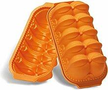 Silikomart Silikon-Backform für Weihnachtsbaum Pflaumenkuchen-Form Blumenthema Orange