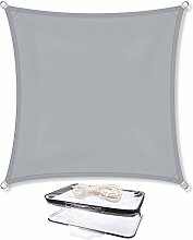 Sonnensegel Sonnenschutz Garten   UV-Schutz PES Polyester wasser-abweisend imprägniert   CelinaSun 0010553   Quadrat 5 x 5 m hell-grau