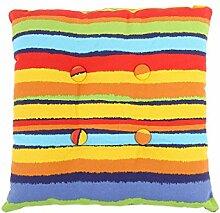 sourcingmap® Quadrat Stuhl Kissen Sitz Garten Gartenmöbel mit Krawatten (Streifen 4 mit Knopf)