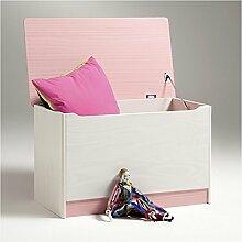 Spielzeugtruhe Kiste HANNAH Kiefer massiv in weiß und rosa mit Klemmschutz