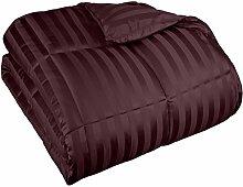 Superior - Bettdecke mit Daunenersatz und breiten Streifen für alle Jahreszeiten, 229 x 234 cm, Mikrofaser, pflaumenblau
