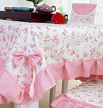 Tang Moine Jacquard Mädchen Garten Rosa Baumwolle Tischdecken Tischdecken,90*90cm