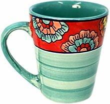 Tasse Kaffeetasse Teetasse Geschirr Keramik Bemalt Bunt - Gall&Zick (Türkis)