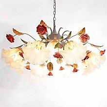 TOYM UK-8 Lampe koreanischen Garten Blumen Eisen-Lampe romantische Rosen Glas-Kronleuchter
