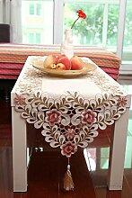 TRE Garten Tisch Läufer Stoff Mode/ einfache europäischem Luxus Tuch/ Tischtuch/ bestickt rosa Rosen Tischläufer-A 38x195cm(15x77inch)