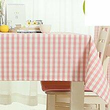 TRE Modern und schlicht Spitze Tischdecke/ frische Tischdecke Pink Plaid und wasserdicht Tischdecken/wasserdichte Tapete-C 80x80cm(31x31inch)