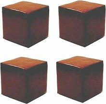 Vier Kunstleder Sitzwürfel, braun, 400mmx400mmx450mm