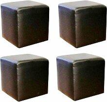 Vier Kunstleder Sitzwürfel, schwarz, 400mmx400mmx450mm