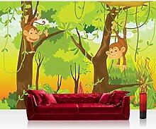 Vlies Fototapete 400x280 cm PREMIUM PLUS Wand Foto Tapete Wand Bild Vliestapete - JUNGLE ANIMALS MONKEYS - Kinderzimmer Kindertapete Comic Affen Dschungel Äffchen - no. 094