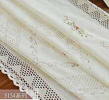 Weißer Spitze Bestickte Tischdecke,Tischdecke Garten-tischdecke,Coffee Table Cover Tisch Läufer Nachttisch Servietten-A 85x145cm(33x57inch)