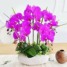 XPHOPOQ Die orchidee Topfpflanzen Künstliche Blumen Garten Wohnzimmer Dekoration Lila
