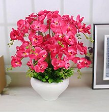 XPHOPOQ Künstliche Blumen Die Orchidee Garten Wohnzimmer Dekoration mit Pflanzen Blumen Rot Seide