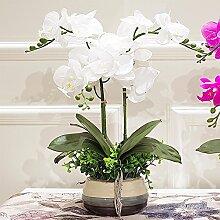 XPHOPOQ Künstliche Blumen Orchideen Topfpflanzen Außenpool Garten Hochzeit Deko Weiß