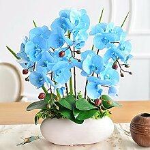 XPHOPOQ Künstliche Blumen Orchideen Topfpflanzen Garten Dekoration moderner Stil Blau