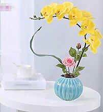 XPHOPOQ Künstliche Blumen Orchideen Wohnzimmer Außenpool Garten Dekoration Weihnachtsgeschenke Gelb
