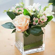 XPHOPOQ Künstliche Blumen Rose Glasvasen Garten Hochzeit Geschenke Dekoration Rosa