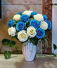 XPHOPOQ Künstliche Blumen Rose Wohnzimmer Garten Moderne Innenausstattung Blau