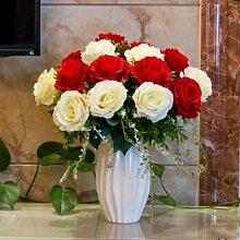 XPHOPOQ Künstliche Blumen Rose Wohnzimmer Garten Moderne Innenausstattung Rot