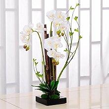 XPHOPOQ Orchidee moderner Stil Topfpflanzen künstliche Blumen Garten Deko Weiß