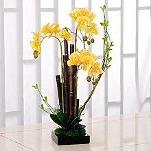 XPHOPOQ Orchidee moderner Stil Topfpflanzen künstliche Blumen Garten Dekoration gelb