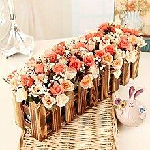 XPHOPOQ Retro Style Zaun Blumen künstliche Blumen Wohnzimmer Garten Dekoration L