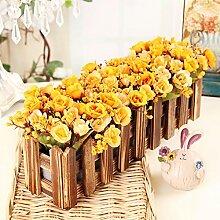 XPHOPOQ Retro Style Zaun Blumen künstliche Blumen Wohnzimmer Garten Dekoration E