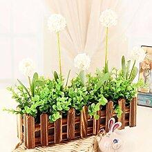 XPHOPOQ Retro Style Zaun Blumen künstliche Blumen Wohnzimmer Garten Dekoration C