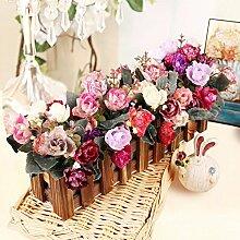 XPHOPOQ Retro Style Zaun Blumen künstliche Blumen Wohnzimmer Garten Dekoration N