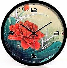 ZHUNSHI Chinesische dekorativen Stil Wall Clock Clock mute Schlafzimmer Wohnzimmer kunst Garten Glocken, 12 Zoll, schwarz Metallrahmen