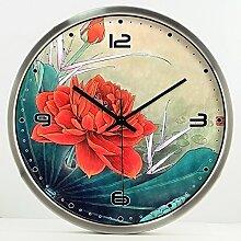 ZHUNSHI Chinesische dekorativen Stil Wall Clock Clock mute Schlafzimmer Wohnzimmer kunst Garten Glocken, 14 Zoll, Silber Metallrahmen