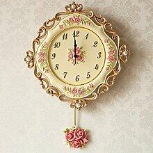 ZHUNSHI Europäische Harz Wand Uhr Pendel ruhigen Garten Wohnzimmer Schlafzimmer Uhr kreative Mode Diagramme Quarz Wanduhr,B