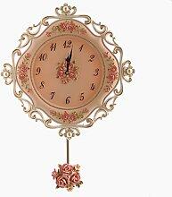 ZHUNSHI Europäische Harz Wand Uhr Pendel ruhigen Garten Wohnzimmer Schlafzimmer Uhr kreative Mode Diagramme Quarz Wanduhr,A