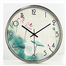 ZHUNSHI Garten Dekoration Wohnzimmer Uhr Uhr stumm Wanduhr,14 Zoll,White-box