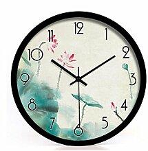 ZHUNSHI Garten Dekoration Wohnzimmer Uhr Uhr stumm Wanduhr,12 Zoll,Silberne box