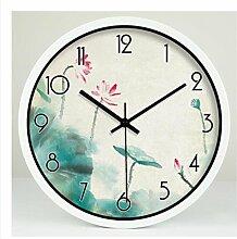 ZHUNSHI Garten Dekoration Wohnzimmer Uhr Uhr stumm Wanduhr,8 Zoll,Black-box