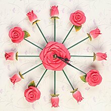 ZHUNSHI Kreative Wohnzimmer Eisen Uhr Uhr Uhr stumm Schlafzimmer Quarzuhr Garten Rosen,10-Zoll-,B