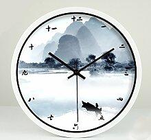ZHUNSHI Kreative Wohnzimmer Studie chinesische Landschaft Wanduhr Garten kunst Leise Wanduhr metall Uhren, 12 Zoll, White Box