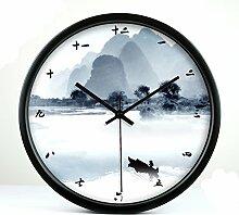 ZHUNSHI Kreative Wohnzimmer Studie chinesische Landschaft Wanduhr Garten kunst Leise Wanduhr metall Uhren, 8 Zoll, Black Box