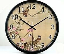 ZHUNSHI Retro clock stumm Die kreative Blume Garten das Wohnzimmer Uhren Wanduhren Schautafeln, 12 Zoll, Black Box