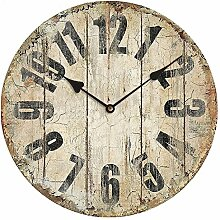 ZHUNSHI Retro Wecker creative Wohnzimmer Mode imitation Schmiedeeisen Garten Wall Clock Clock mute Schautafeln, 34 X 34