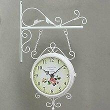 ZHUNSHI Schmiedeeisen Garten doppelseitige Doppelwand Uhr/Glas Ziffernblatt,10-Zoll-,Weiß