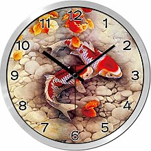 ZHUNSHI Uhr Stille ruhige Schlafzimmer moderne kreative Kreis Garten Uhr Uhr Tabelle Wandtafeln,14 Zoll,Silberne box
